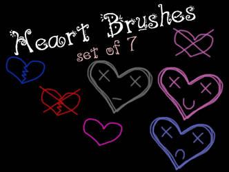 Heart Brushes - Set of 7