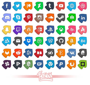 UPDATED! 48 Splatoon Inspired Social Media Icons! by justfream