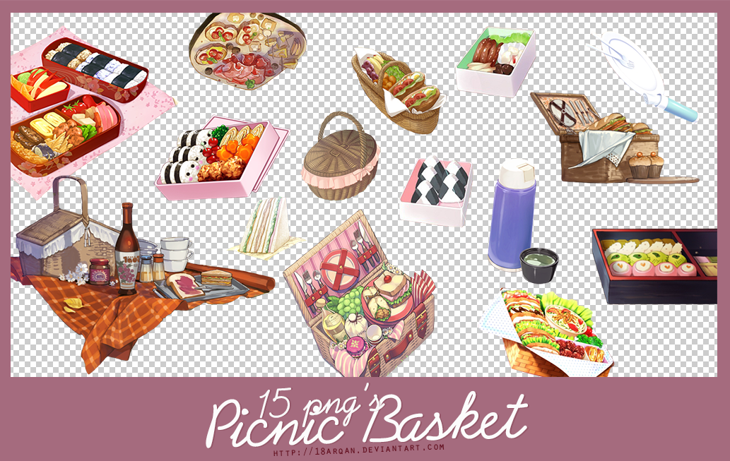 picnic basket 15 png's by 18arqan