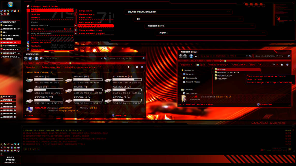Sulaco Visual Style v0.15 red (Windows 7 theme)