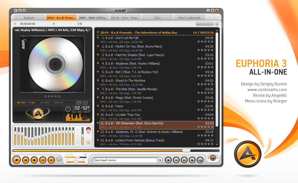 Euphoria Remix, skin for AIMP3 by AngelAG3