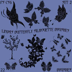 Linda's Butterfly Silhouette Brushes Set 2
