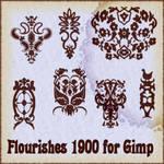 Flourishes 1900 brushes for Gimp
