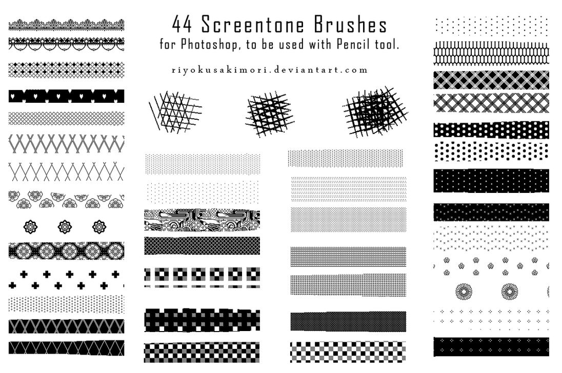 44 Pixel Screentone Brushes by Nyanfood