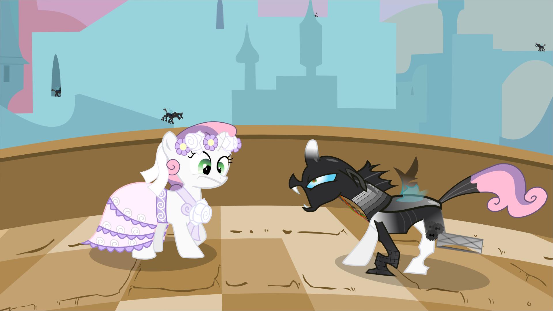 Sweetie Bot meets Changeling by Serendipony on DeviantArt