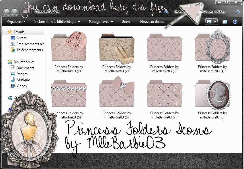Princess Folders Icons for girls