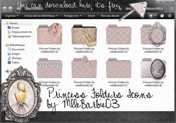 Princess Folders Icons for girls by mllebarbie03