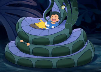 Ash and Pikachu sleeping in Kaa's coils [GIF]