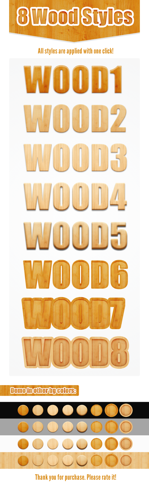 Free Pack 8 Wood Photoshop Layer Styles