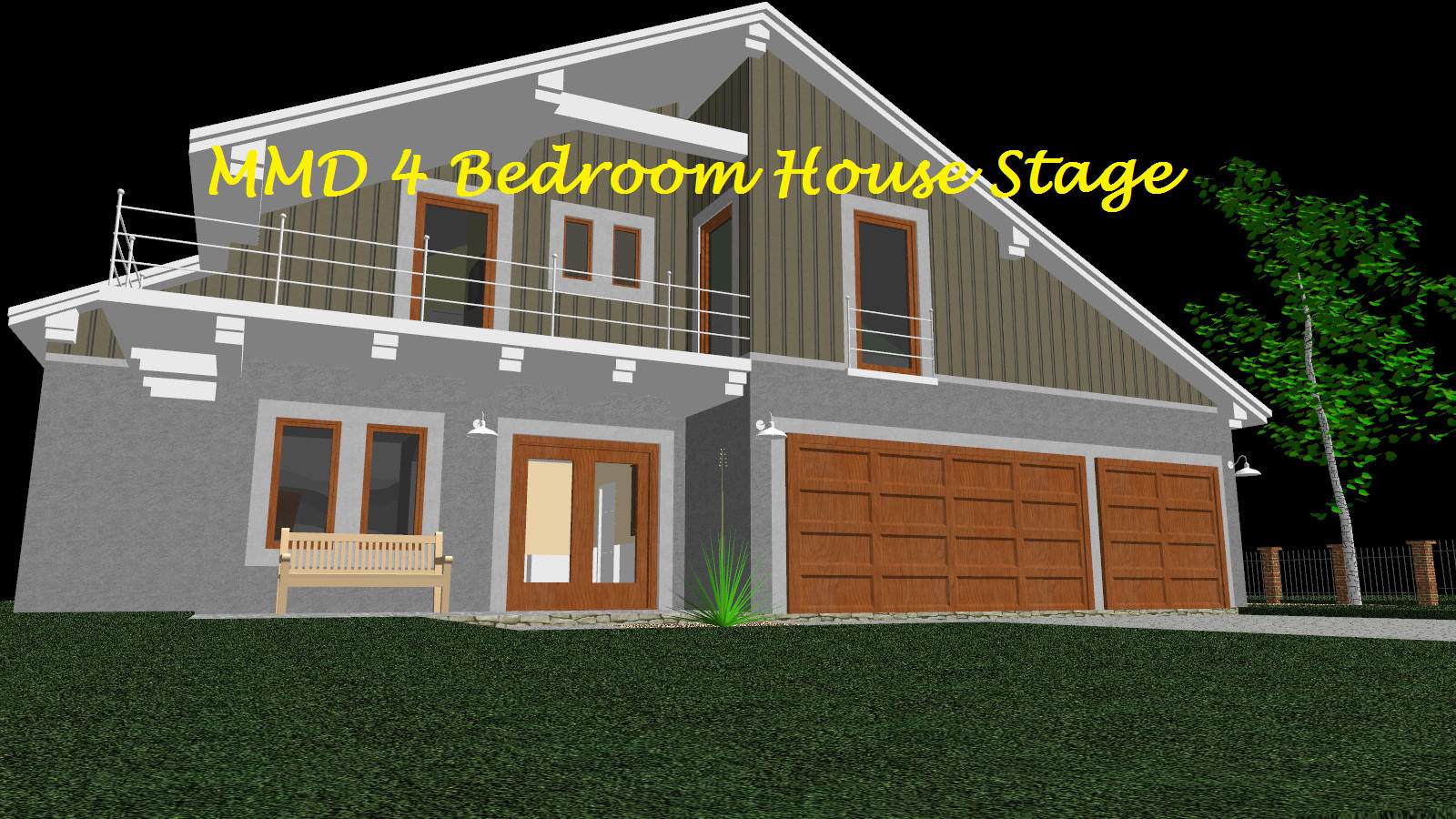 Mmd 4 Bedroom House Stage Converted In Sketchup By