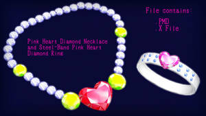 Pink Heart Diamond Necklace and Steel-Band Ring DL