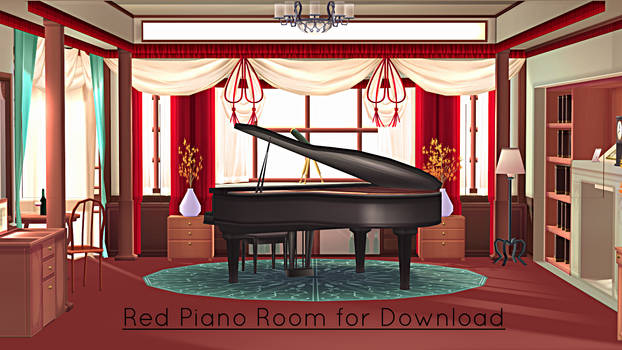 Red Piano Room Stage for MMD Download