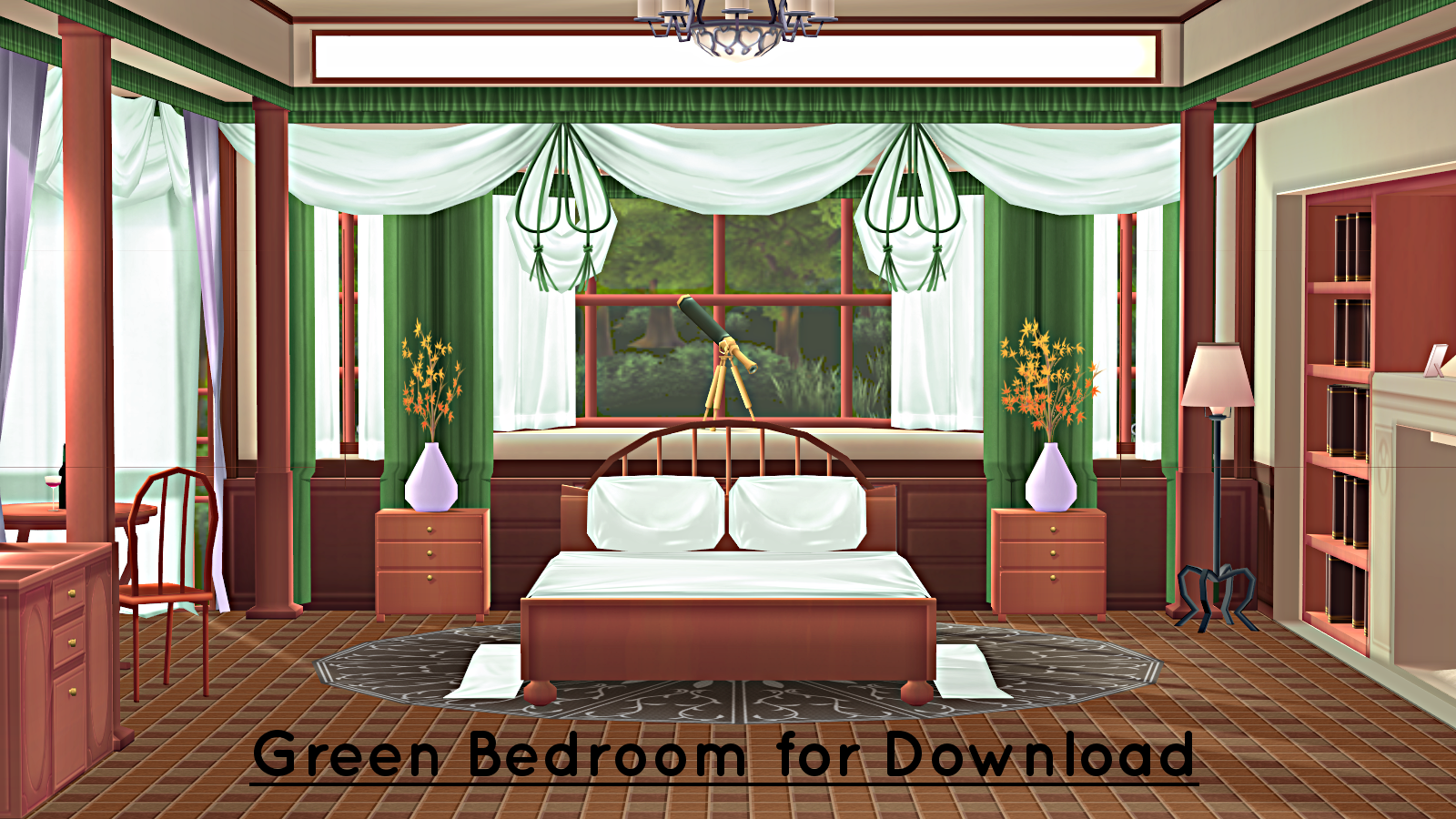 Green Bedroom Stage for MMD Download