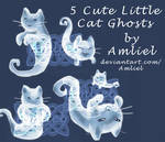 EXCLUSIVE 5 Cute Little Cat Ghosts by Amliel