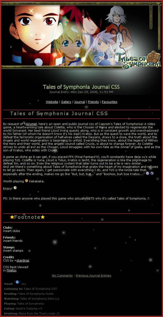 Tales of Symphonia Journal CSS by stardrop