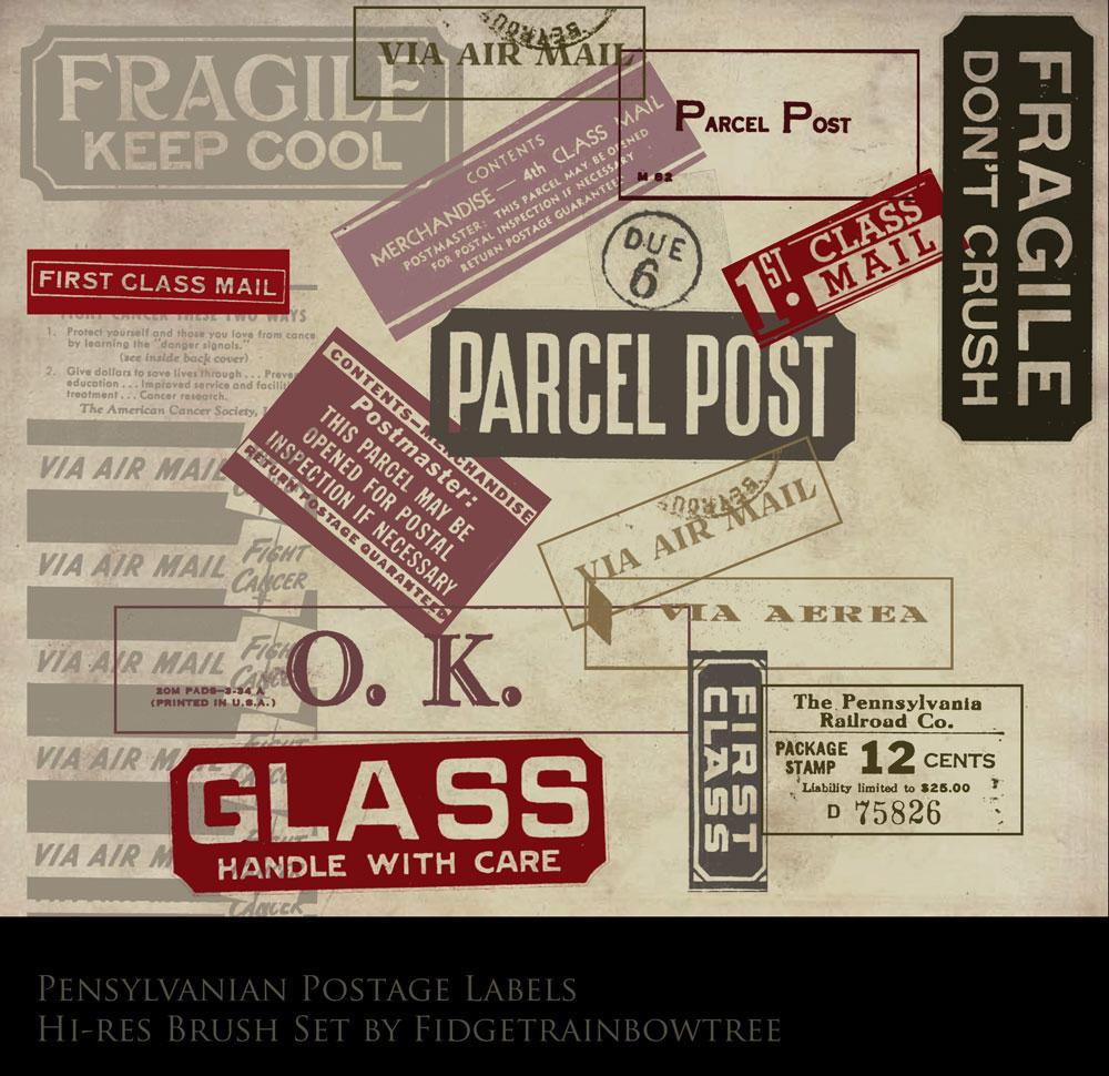 Postage label brush set by FidgetResources