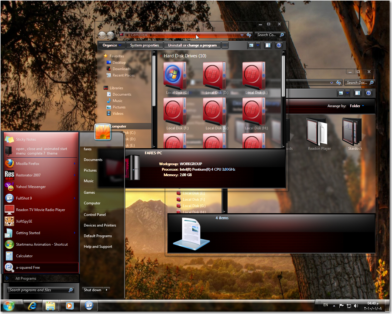 Windows 7 Glass Red Theme For 32 And 64 Bit By Fares123 On Deviantart