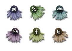 Social Media Flower Buttons by kitttykat