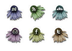 Social Media Flower Buttons by kitttykat