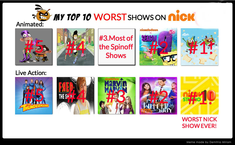 Top 10 Worst Nick Shows by BubblesYesMM20No on DeviantArt