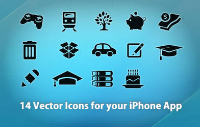 14 vector icons 4 iPhone Apps