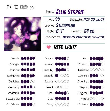 Ellie's OC card by JSMRACECAR03
