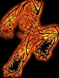 Colored red Blaziken Tribal