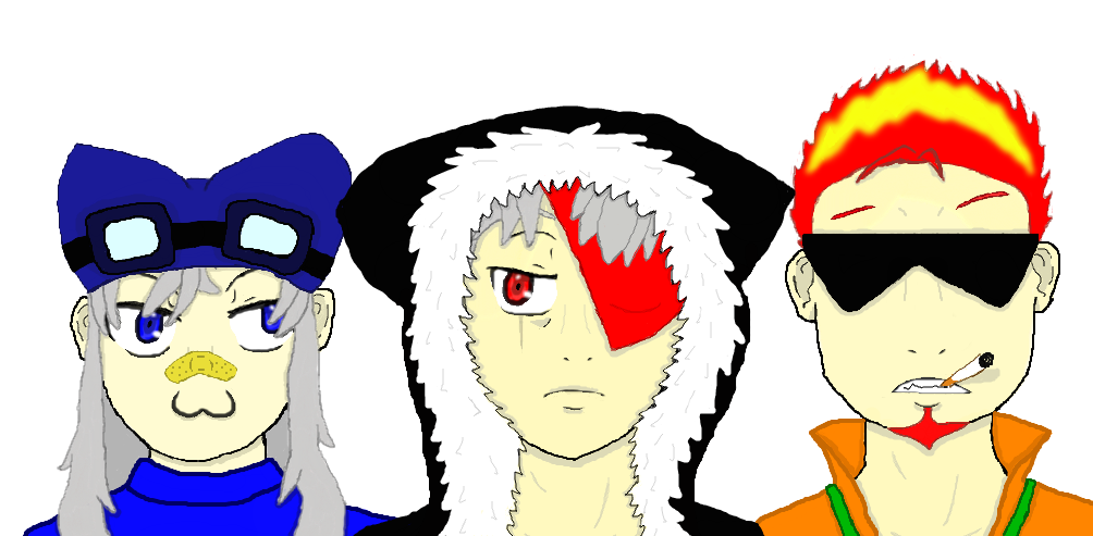 No.1: Kiba, No.2: Ryu, and No. 3: Neko by ShadowSketchist