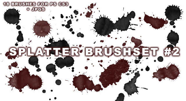 18 Splatter Brushes for PS CS3 by wickedjess
