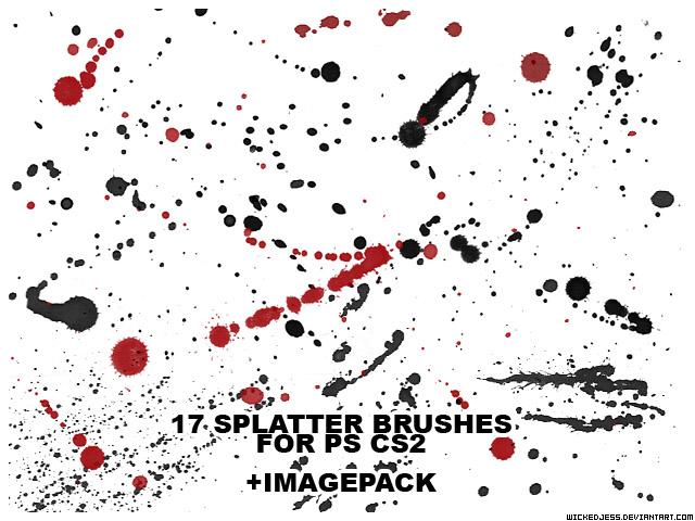 17 Splatter Brushes for PS CS2 by wickedjess