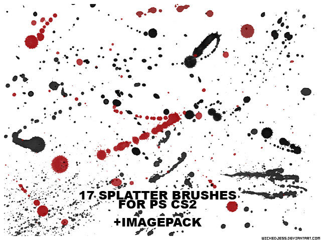 17 Splatter Brushes for PS CS2 by wickedjess