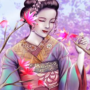 Geisha and sakura by daihaa-wyrd