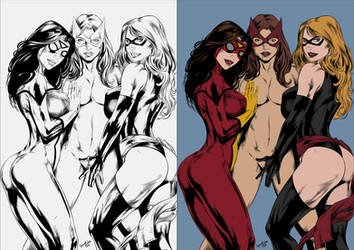 Three hot ladies from Marvel - Flats by TracyWong