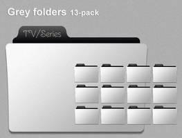 Grey folder icons 13-pack by skippydippy
