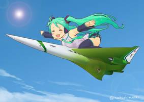 Hatsune miku riding on NASA's supersonic jet