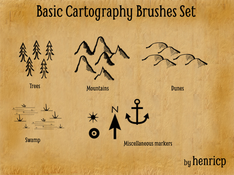 Basic Cartography Brushes Set by henricp