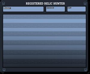 Relic Hunter Registration Sheet by notecardPasta