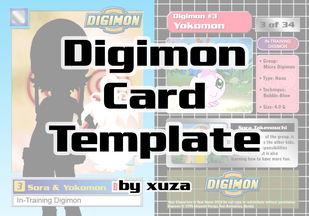 Digimon Card Blank Template by xuza