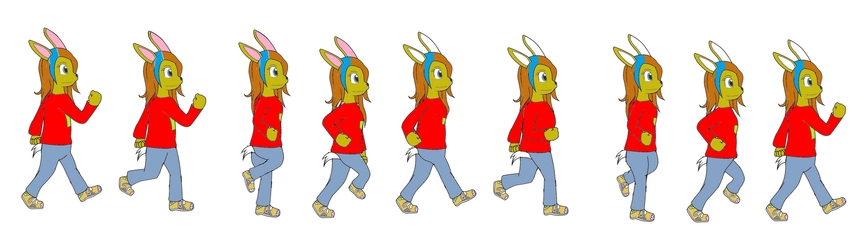 Bunny walks Colored
