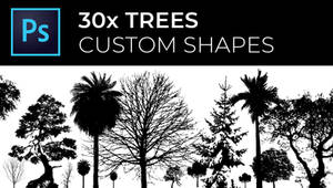 30x Trees custom shapes for Photoshop