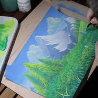 Chibi Meadow Gouache video painting process