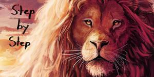 Lion Savannah Painting Steps