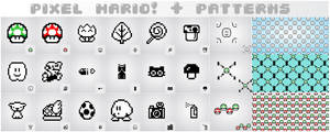 pixel mario + patterns