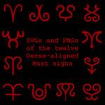 Extended Zodiac Vectors - Dersite Rust signs