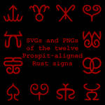 Extended Zodiac Vectors - Prospitian Rust signs