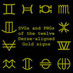 Extended Zodiac Vectors - Dersite Gold signs