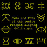 Extended Zodiac Vectors - Prospitian Gold signs