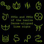 Extended Zodiac Vectors - Dersite Lime signs