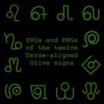 Extended Zodiac Vectors - Dersite Olive signs