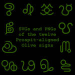 Extended Zodiac Vectors - Prospitian Olive signs
